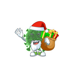 Wuhan coronavirus cartoon santa with box gift vector