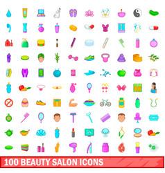 100 beauty salon icons set cartoon style vector image
