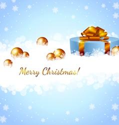 Christmas gift box and snowflakes vector image