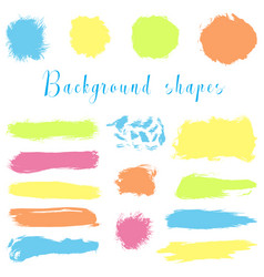 Colorful ink borders brush strokes stains vector