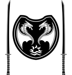 fantasy shield and swords of eastern warriors vector image vector image