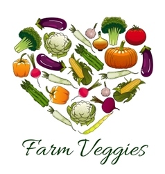 Farm veggies emblem in shape of heart vector image vector image