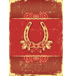 Vintage horseshoe on red christmas background with vector image
