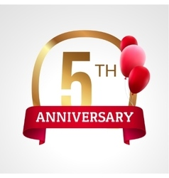 Celebrating 5th years anniversary golden label vector image