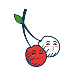 cherry cartoon smiley vector image