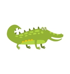 Crocodile Standing On Four Legs Flat Cartoon Green vector image vector image