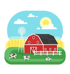 flat style of farm with cows vector image vector image