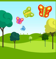 meadow with butterflies vector image
