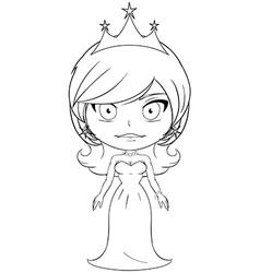 Princess Coloring Page 6 vector image vector image