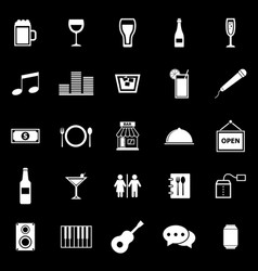 bar icons on black background vector image vector image