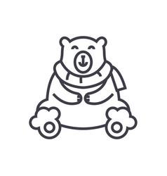 cute polar bear line icon sig vector image