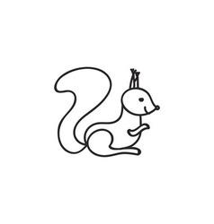 Doodle squirrel animal icon vector image