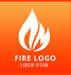 flame of fire logo design on fire color background vector image vector image