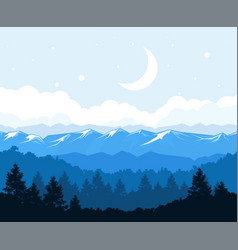foggy forest at the foot of mountains - rocks vector image vector image