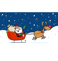 Kris Kringle In His Sleigh In The Snow vector image vector image