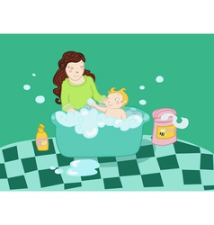 a baby take a bath with his mother vector image