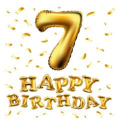 golden number seven metallic balloon party vector image