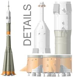 hidetailed space rocket vector image