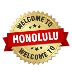 honolulu 3d gold badge with red ribbon vector image