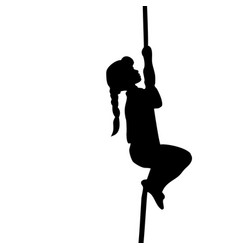 silhouette girl climbs up the rope vector image