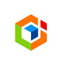 Abstract geometry cube logo vector