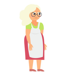 Angry grandmother in apron vector