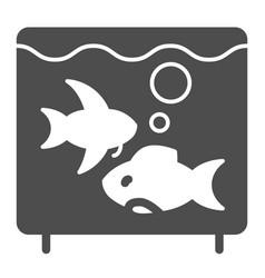 aquarium solid icon fish in aquarium vector image