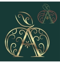 Artistically drawn stylized lace apple vector