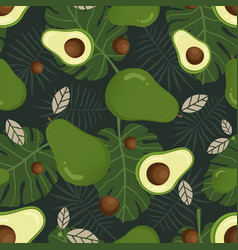avocado seamless pattern with tropical leaves vector image