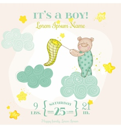baby shower or arrival card - with bear vector image
