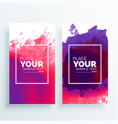 banner with watercolor splash set vector image