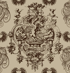 Baroque antique seamless pattern background vector
