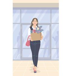 Beautiful woman quit her job vector