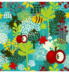 Bee and apple seamless background vector