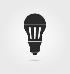 black led bulb icon with shadow vector image