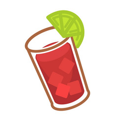 bloody mary with ice and slice of lime in glass vector image