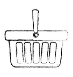 Blurred silhouette shopping basket with one handle vector