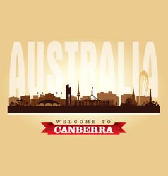 canberra australia city skyline silhouette vector image