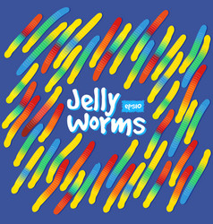 Candy gummy jelly worms on blue background vector