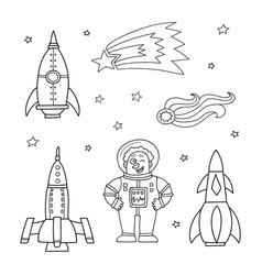 card with space objects rockets stars comet and vector image vector image