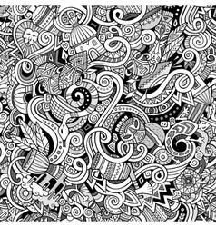 Cartoon cute doodles hand drawn africa seamless vector