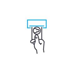 cash terminal thin line stroke icon cash vector image