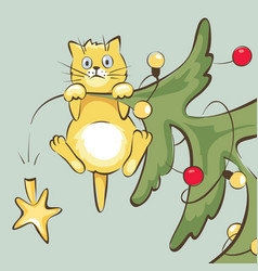 cat on christmas tree vector image