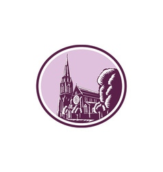 Christchurch Cathedral Woodcut Retro vector