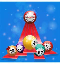 Christmas bingo balls over 3D stripes on blue vector