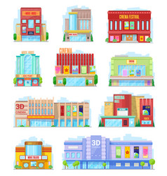 Cinema urban buildings movie theater facade icons vector