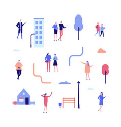 Citizens - flat design style set of isolated vector