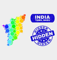 colored mosaic tamil nadu state map and scratched vector image