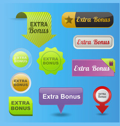 Colorful website extra bonus buttons design vector