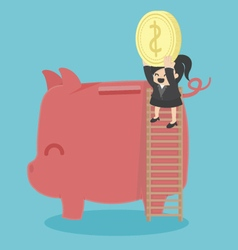 Concept Business woman saving money vector image